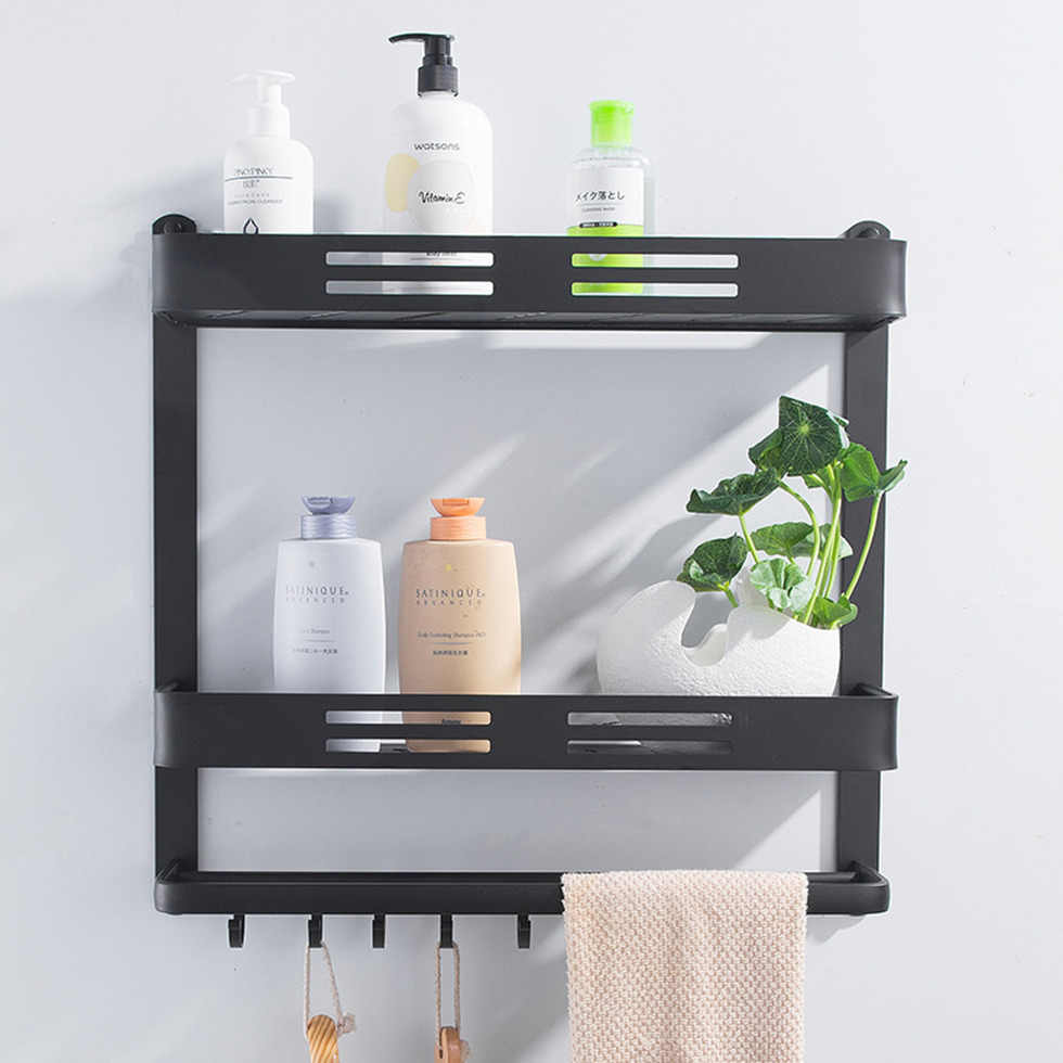 Uchwyt ścienny czarna aluminiowa półka łazienkowa koszyk prysznicowy stojak do kąpieli z barem i haczykiem na ręcznik szampon półki przechowywanie kuchnia