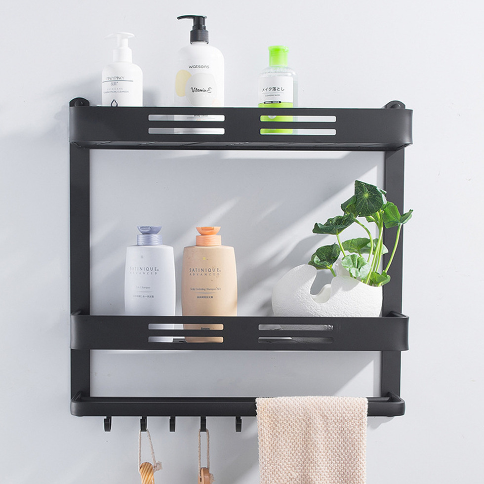 Wall Mount Black Aluminum Bathroom Shelf Shower Caddy Bath Rack With Bar And Hook For Towel Shampoo Shelves Storage Kitchen