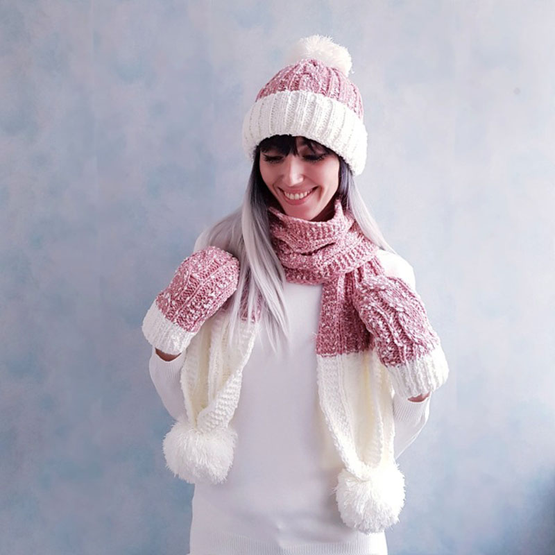 Women Winter Warm Soft Hat Scarf Glove Set Solid Casual White Pink  Pompom Beanie Hats Girls Cute Fashion Winter Accessories