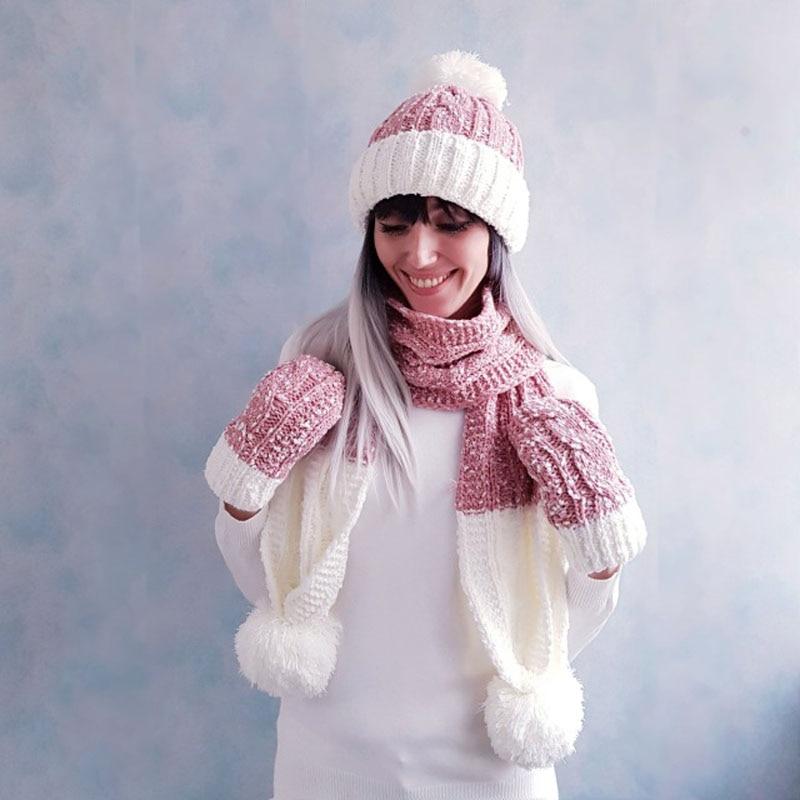 Women Winter Warm Soft Hat Scarf Glove Set Solid Casual White Pink  Pompom Beanie Hats Girls Cute Fashion Winter Accessories