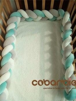 250 cm Baby Gevlochten Crib Bumpers Knoop Kussen Kussen, Kwekerij beddengoed, cot kamer dector
