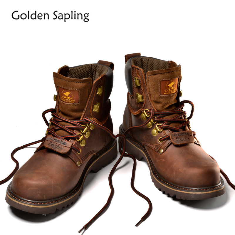 Golden Sapling Hiking Shoes Men Trekking Boots Men s Sneakers Breathable Genuine Leather Rubber Tactical Shoes