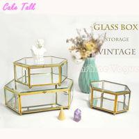 European style Glass display box Preserved Fresh Flower case candy bar decoration craft cupcake box brass metal mirror botton