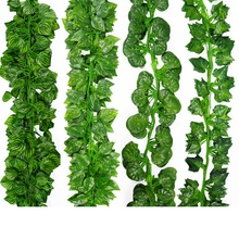 2 Meter long artificial leaf green leaves Boston ivy vine evergreen rattan Fake flower
