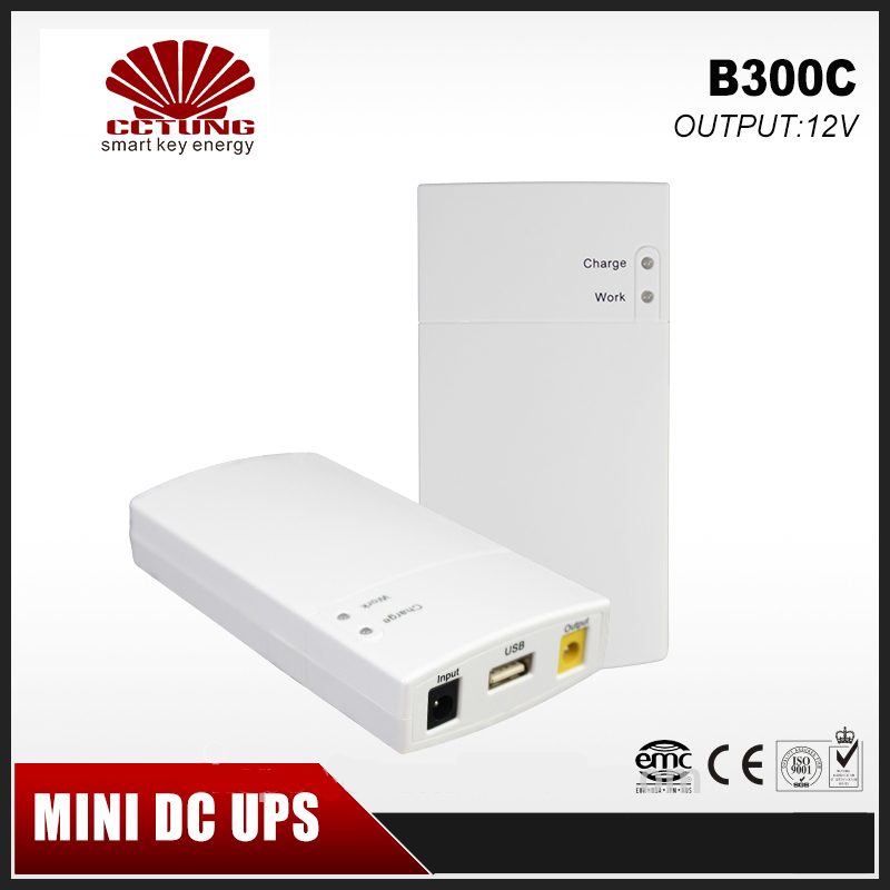 B300C Mini Portable UPS 12V2_5A DC Online Power Supply With Lithium Battery 7.8Ah Max 7hours Backup Tim for CCTV System & Modem