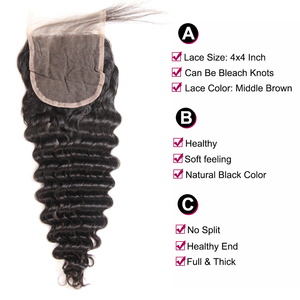 Image 4 - Superfect Hair Lace Closure 4*4 Brazilian Deep Wave Closure 8 24inches Remy Human Hair Closure Free Shipping