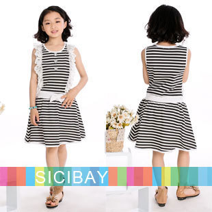 Girl Dresses New Arrivals Free Shipping Black Striped Dresses Knot Design Girls Summer Cute Dress