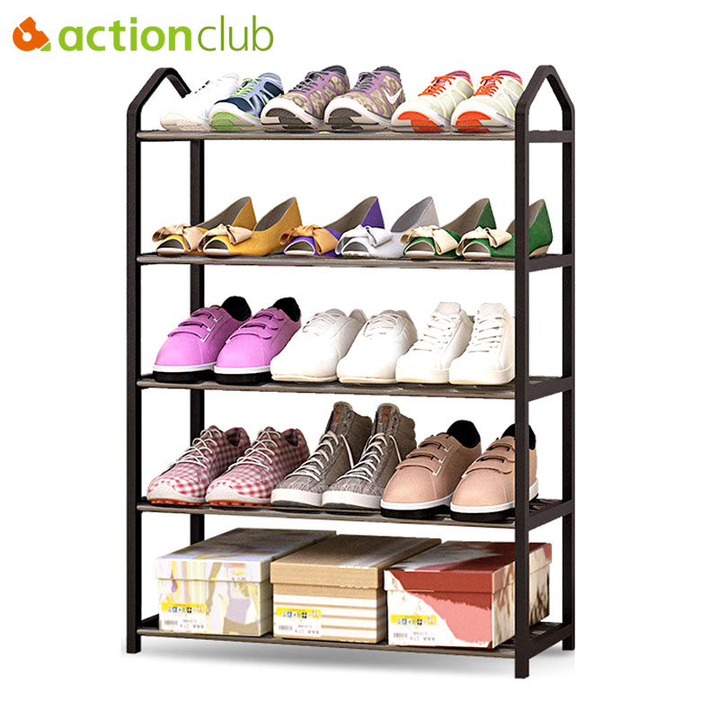 Actionclub Simple Multi-layers Metal Iron Shoe Shelf Student Dormitory Shoe Storage Rack DIY Shoe Cabinet Home Furniture