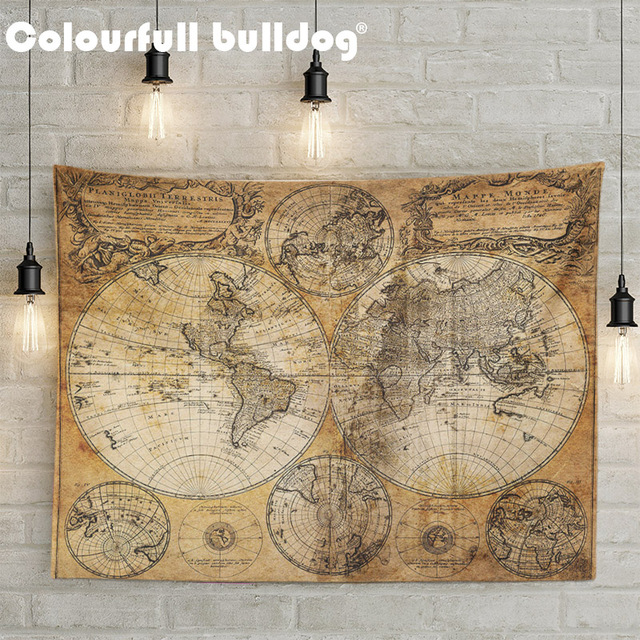 World Map Print Fabric.Vintage World Map 3d Print Fabric Geometric Colorful Compass Wall