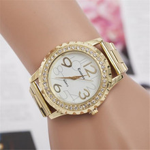 2016 New Fashion Geneva Watch Women's Men's Crystal Rhinestone Alloy Stainless Steel Analog Quartz Wrist Watch Free Shipping