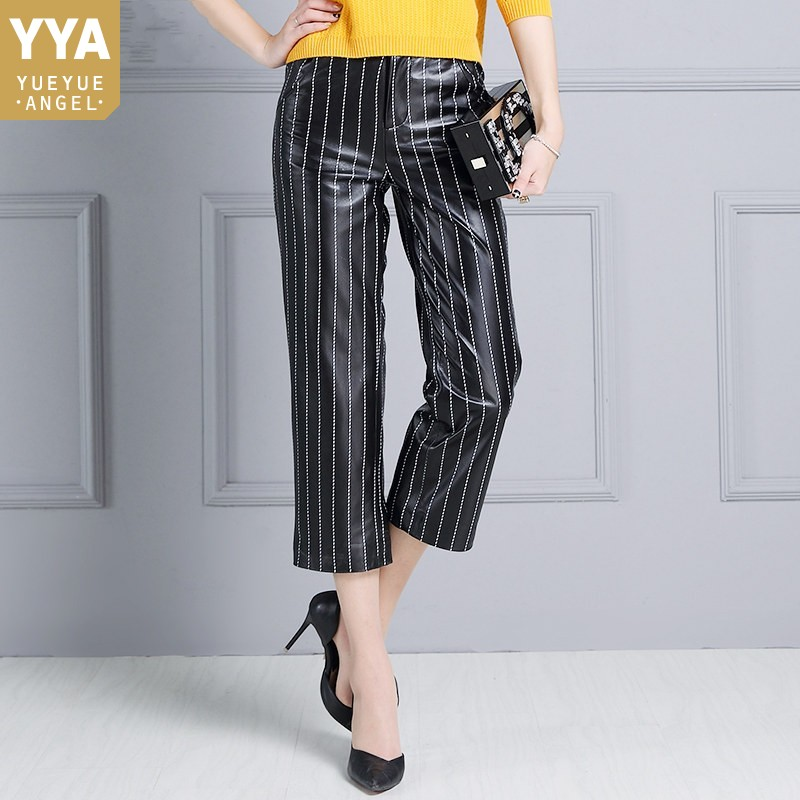 High Waist Natural Leather   Wide     Leg     Pants   Women Office Ladies Striped Ankle-Length   Pants   Plus Size Straight   Leg   Leather Trousers