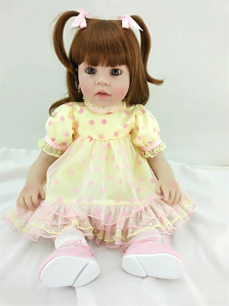 """Pursue 24""""/60 cm Beautiful Yellow Dress Real Life Silicone Reborn Toddler Baby Princess Girl Doll Toys for Children Bedtime Gift"""