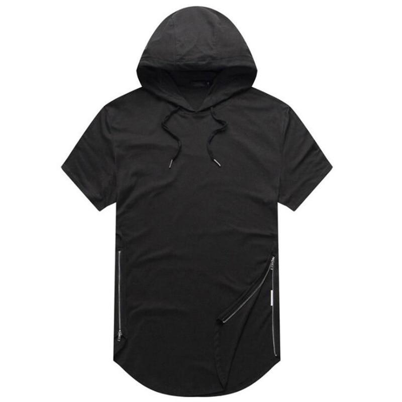 Mens Longline Curve Hem t shirt Casual Hooded Mens Hipster Hip Hop Side Zip Short Sleeve T shirt Solid T-shirt
