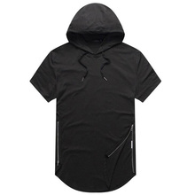 Mens Longline Curve Hem t shirt Casual Hooded Mens Hipster Hip Hop Side Zip Short Sleeve T shirt Solid T-shirt plus size plaid panel longline t shirt
