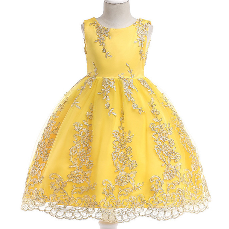 Flower Girl Embroidery Yellow Sleeveless Princess Dress Kids Party Wedding Birthday Ball Gown Clothes Costume Dresses 3-10 BW117