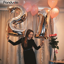 "40 ""rose gold ballonnen folie Aantal ballon birthday party decorations kids orbs figuur Air Ballonnen globos gelukkige verjaardag ballon(China)"
