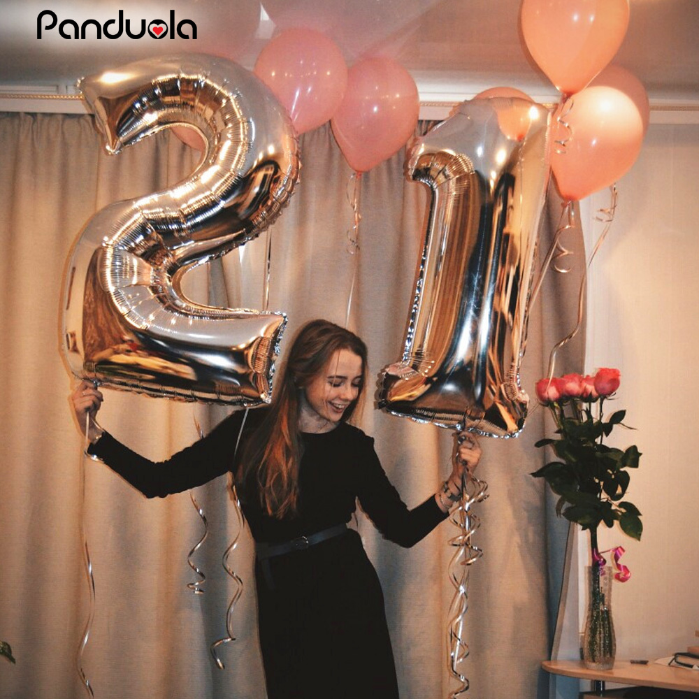 40''rose gold balloons foil Number balloon birthday party decorations kids figure Air Balloons globos happy birthday ballon