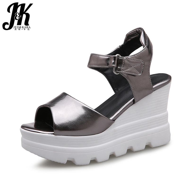 J&K 2017 Casual Ladies Summer Shoes Woman Ankle Strap Wedges Platform Sandals Sexy Peep toe Thick Sole Dress Shoes High Heels phyanic 2017 gladiator sandals gold silver shoes woman summer platform wedges glitters creepers casual women shoes phy3323