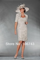 fast shipping in stock cheap handmade flowers discount half sleeves ivory mother of the bride dresses with jacket