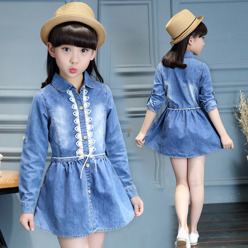 Girls Dresses Lace Shirts Long Sleeve Denim Dress For Blouses Teenage Kids Clothes 2017 Spring Vestidos 4 5 6 8 10 12 14Y