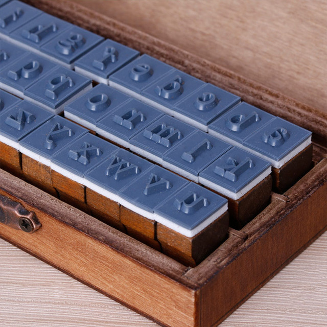DIY Craft Supplies 30pcs Retro Alphabet Letter Uppercase Lowercase Wooden Rubber Stamp Set Item