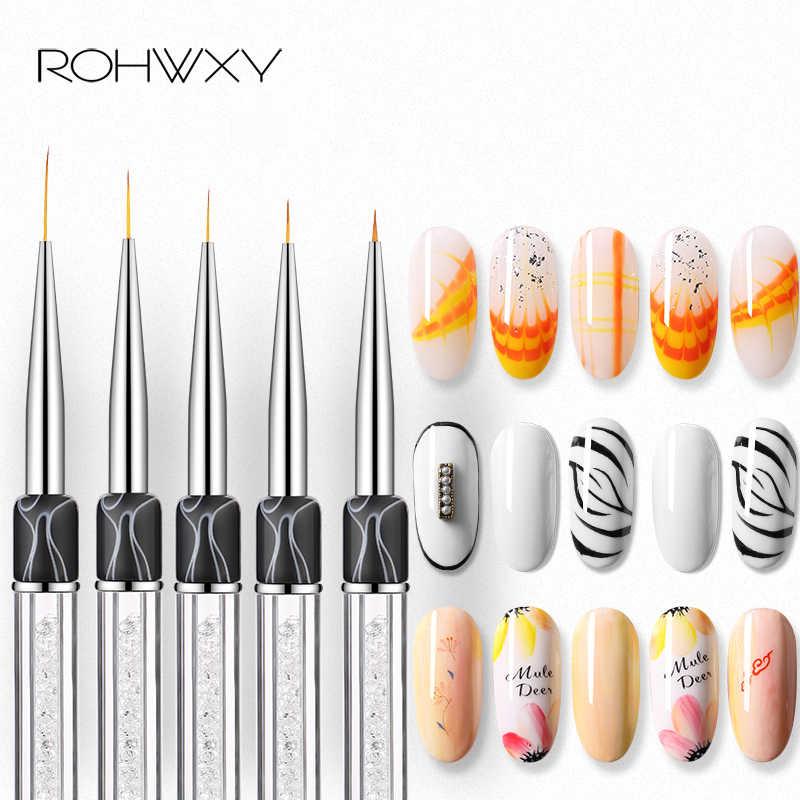 ROHWXY แปรงเล็บสำหรับเล็บจิตรกรรมดอกไม้วาดเส้นตารางลายอะคริลิค UV เจลปากกา DIY เคล็ดลับเล็บชุดแปรง