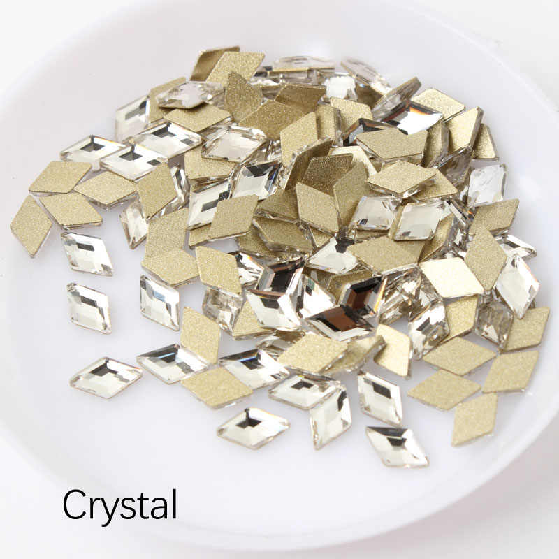 1dc2075c35 New sale 4X6.5mm Rhombus Nail Rhinestone 30pcs/100pcs Flatback Crystal  Stones For 3D Nail Art Decoration Free shipping
