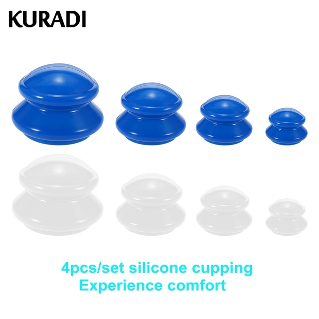 4Pcs Silicone Vacuum Massage Cup Moisture Absorber Anti Cellulite Family Facial Body Massager Muscle Therapy Cup Set 4 Size