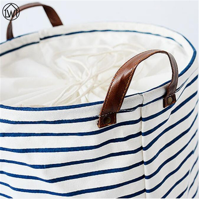 Large Size Blue Stripe Storage Bag ZAKKA Laundry Basket Linen Folding Sundries Basket,Baby Toy Dirty Cothes Storage Box European