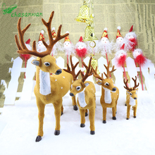 3Pcs (16cm 20cm 25cm) Simulation Christmas Elk New Year Christmas Decorations for Home 2017 Gift Supply Navidad Noel Natal,Q