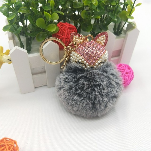 Best Cool Puff Ball KeyChains Cute Fox Key Chains Kids Womens Personalised  Rings Key Chains Car Bag Customized Key Chains a16a94733c