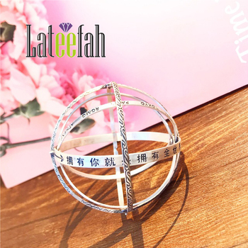 Lateefah S999 Sterling Silver Astronomical Ball Magic Bracelet Sterling Silver Simple Lettering Original Design Fashion Jewelry