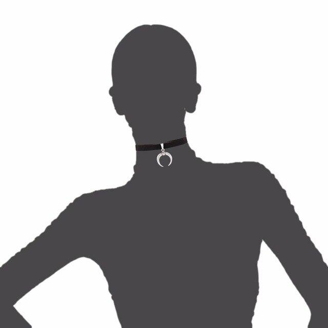 2019 nowy projekt czarna aksamitna wstążka Choker naszyjnik Gothic Handmade z uroku wisiorek z księżycem Gothic Emo dla kobiet Collares Mujer