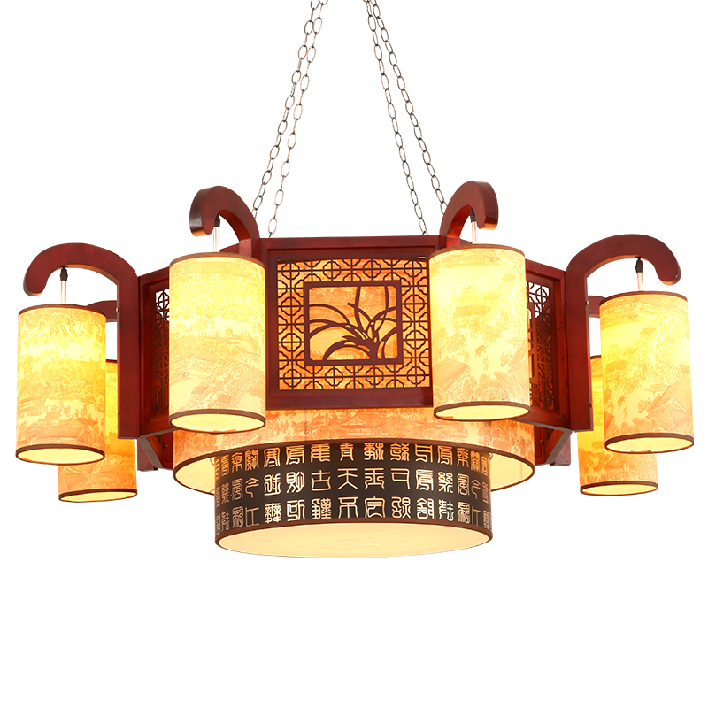 pendant light retro solid wood living room dining room lamp Chinese style tea hall lobby sheepskin pendant lamps wl04261106 20 beige free shipping crystals string pendant light elegant living room pendant lamps fabric dining room pendant lamp