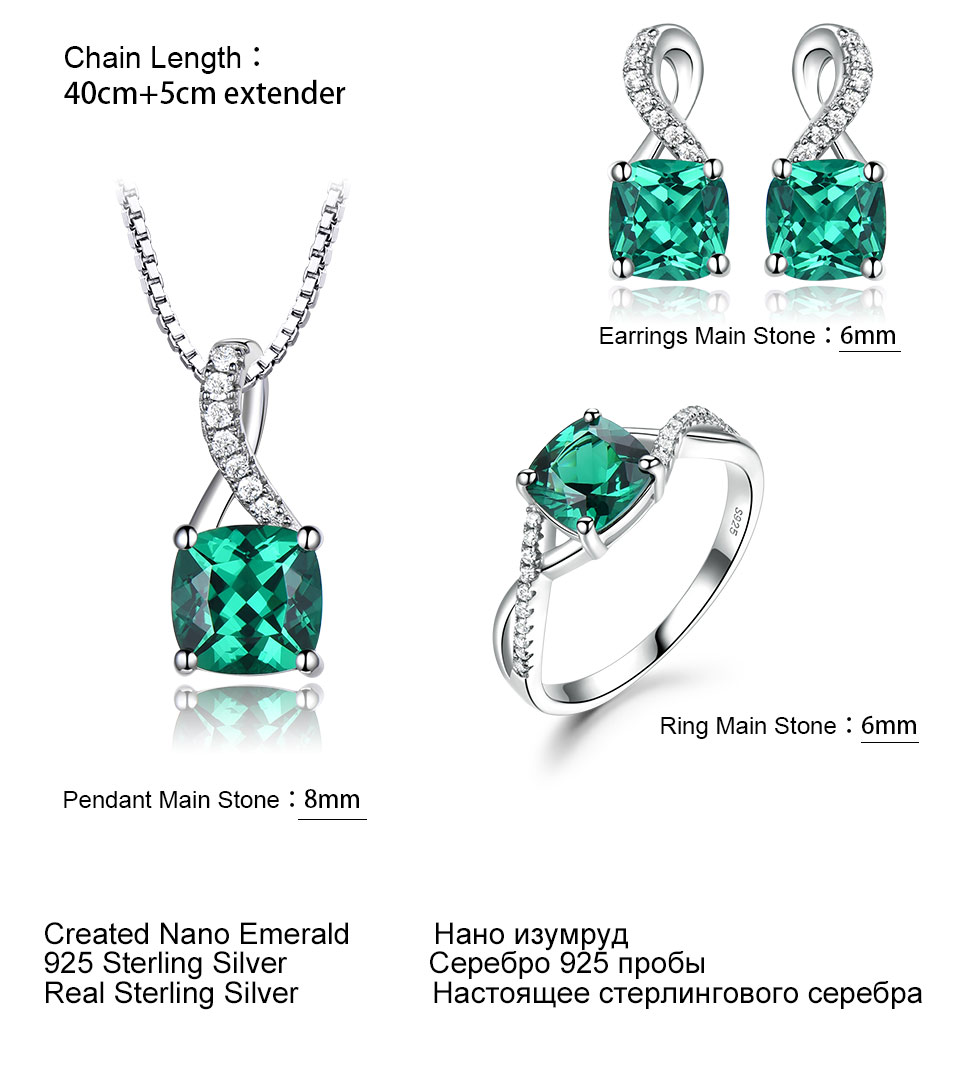 UMCHO Emerald 925 sterling silver jewelry sets for women S027E-1 pc (13)