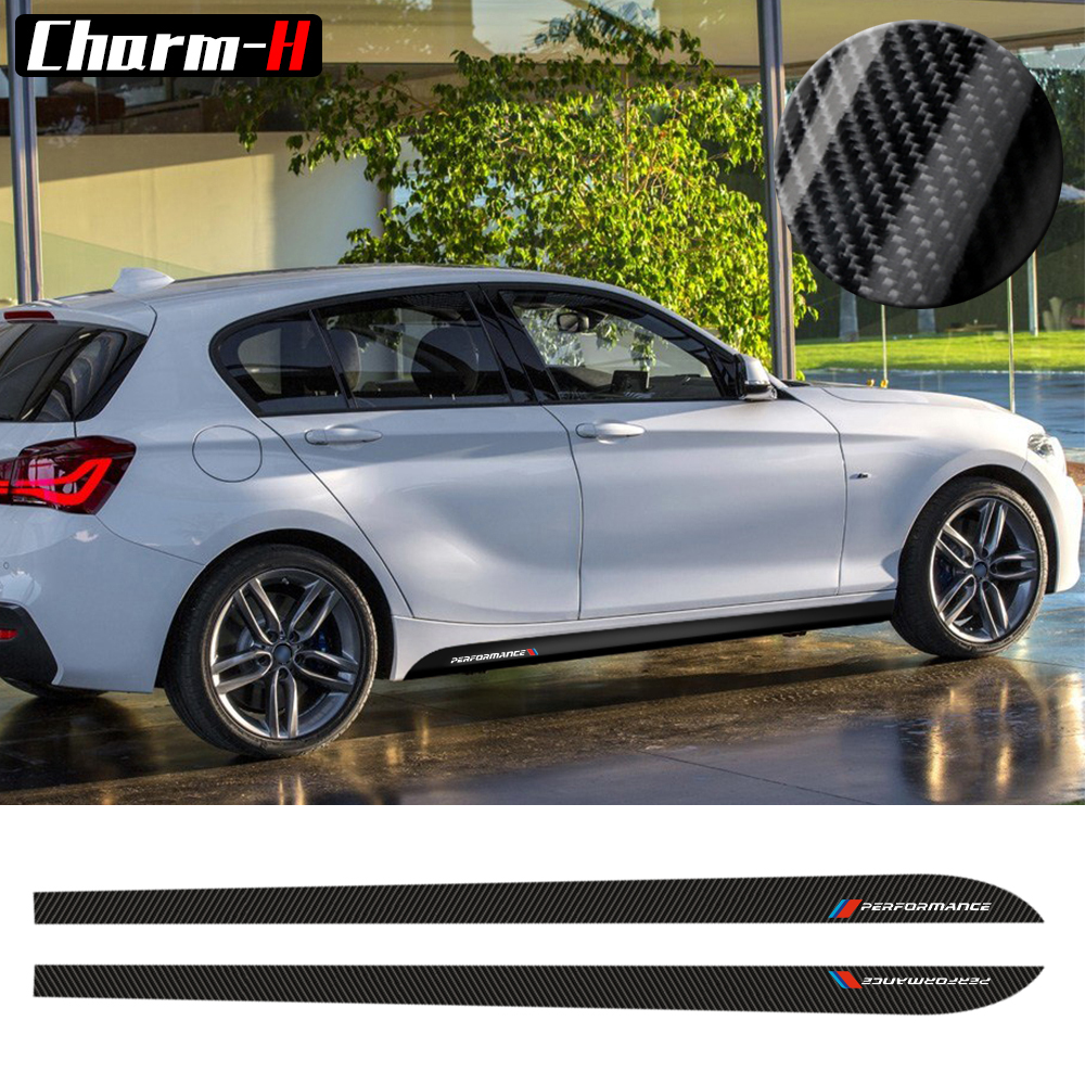 2pcs New Style M Performance Side Skirt Sill Stripe Decals Stickers for <font><b>BMW</b></font> 1 Series <font><b>F20</b></font> F21 <font><b>118i</b></font> 120i 125i 128i 135i M Sport image