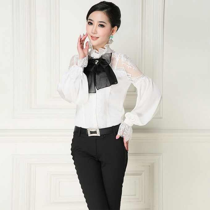 bd8dee09664d3 New Arrival Women Blouses Sexy Sheer Lace Patchwork Elegant Bow Collar Long  Sleeve ...