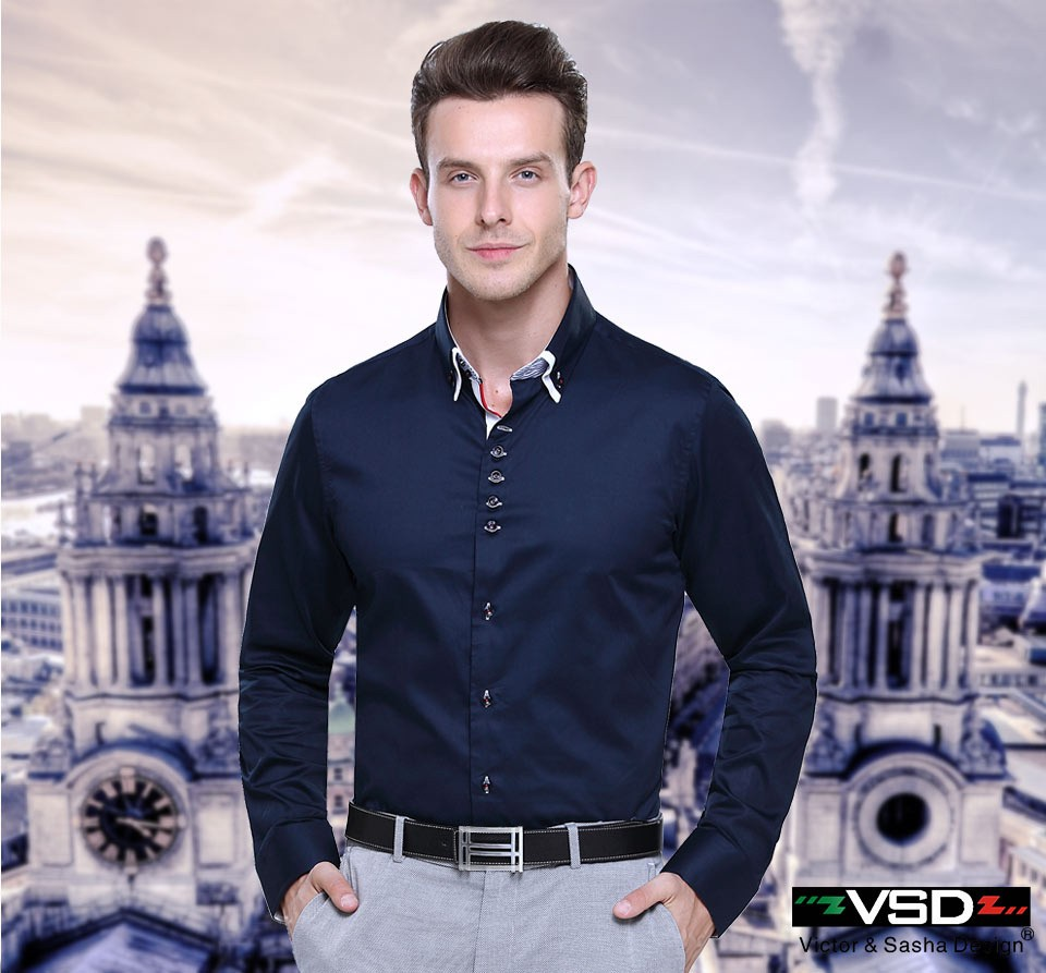VSD Big Sale Italian Style Double Collar Shirting Fashion Slim fit Long Sleeve Premium Cotton Men's Shirt Brand Europe Size 1319