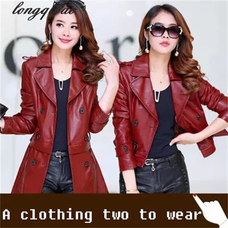 Printemps et Automne nouvelles femmes dans la longue section de cuir Haining en cuir coupe-vent grande taille veste en cuir TB71