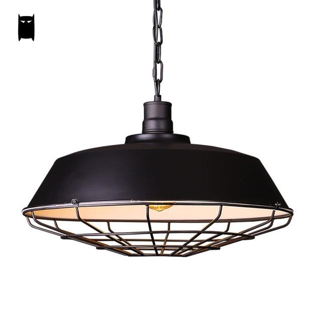 iron metal matte black chain pendant light fixture loft industrial vintage retro mesh cover hanging luminaire