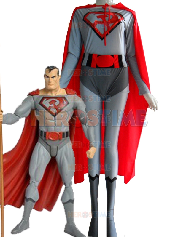 Red Son Superman Costume Spandex Lycra Halloween Cosplay Male Superhero Costume The Most Classic Show Zentai Suit