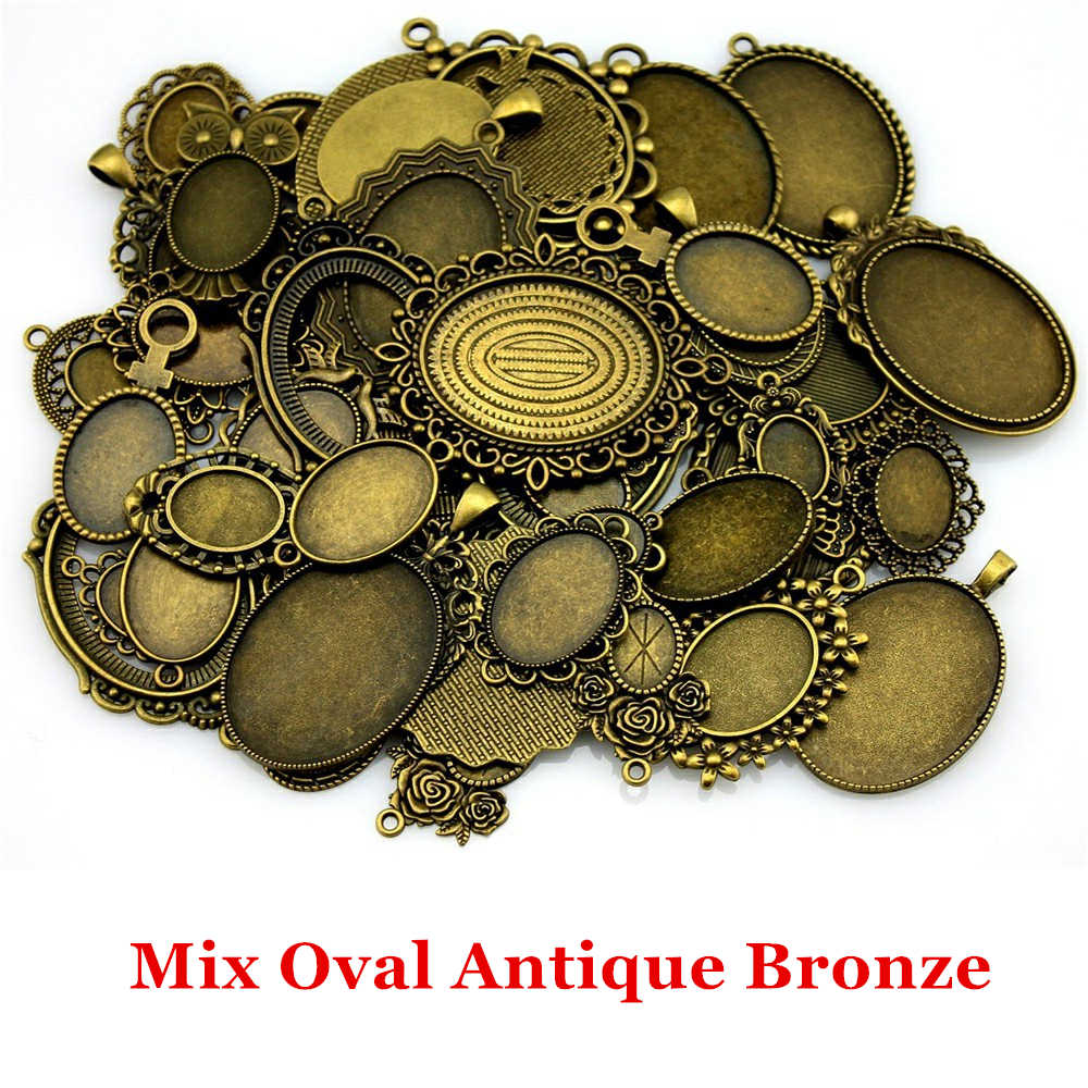 100Gram Mix Designs Antique Silver & Antique Bronze Cameo Cabochon Base Setting Jewelry Accessories Jewelry Findings