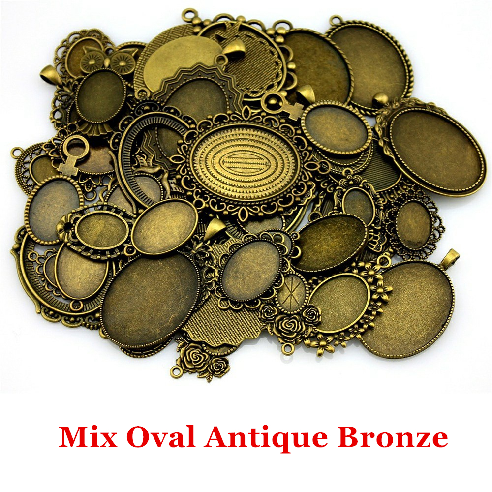 100Gram Mix Designs Antique Silver Color & Antique Bronze Cameo Cabochon Base Setting Jewelry Accessories Jewelry Findings