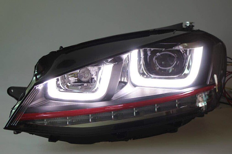 HIDLED AUTO dual U shape LED DRLs headlight for golf 7 GTI