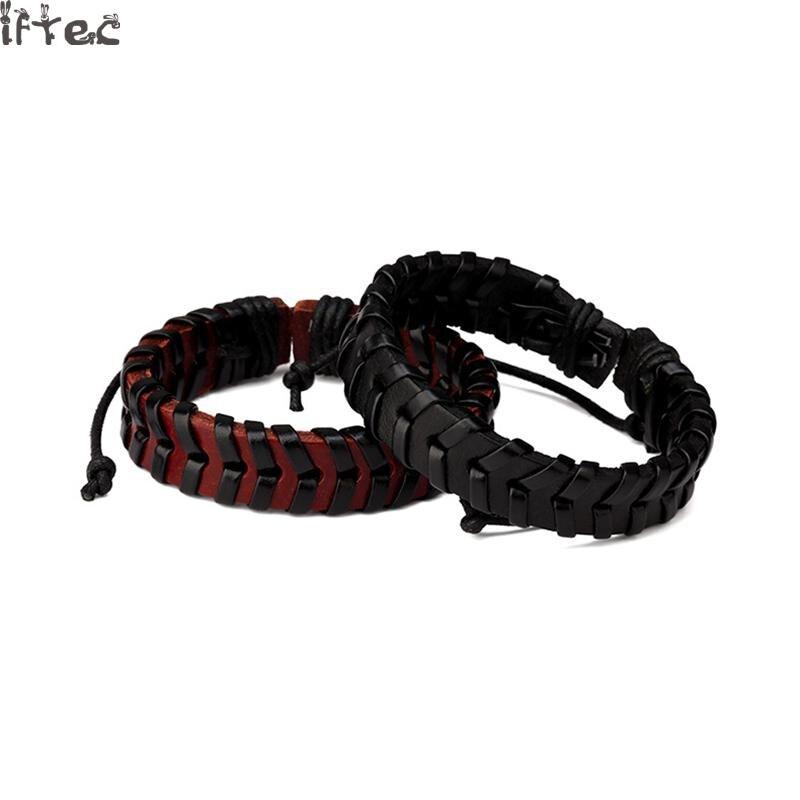дешево купить горячие мужские плетеные кожаные браслеты хип хоп