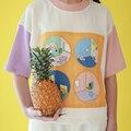 Moda de Verano Camisetas Harajuku Bordado Interior Applique Costura de Color Camisetas Camiseta de Manga Corta Crop Tops Camisetas
