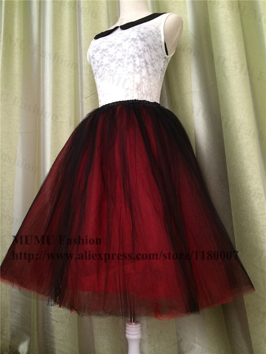 Customize Two Tone Black Red Adult Tulle Tutu Skirt 55cm 8 Layers Bouffant Gauze Ball Gowns Party Wedding Stage Wear In Skirts From Womens Clothing