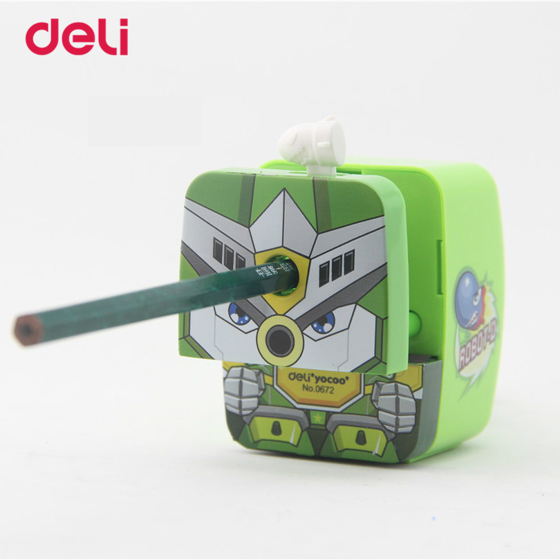Deli 2017 new Pencil sharpeners for School & Office Supplies cool robot Pencil sharpener Hand Crank Mechanical pencil sharpeners