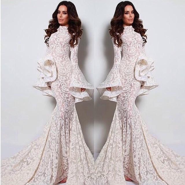 New Full Lace Mermaid Women Formal Evening Dresses Long Poet Sleeve High Neck Floor Length