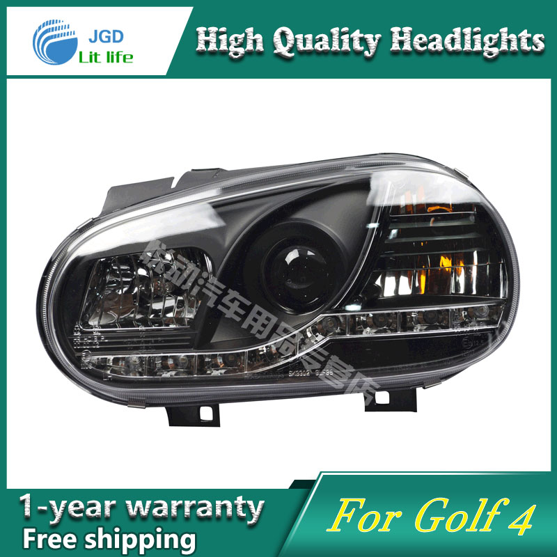 high quality Car styling case for VW Golf 4 Headlights LED Headlight DRL Lens Double Beam HID Xenon hireno headlamp for 2016 hyundai elantra headlight assembly led drl angel lens double beam hid xenon 2pcs